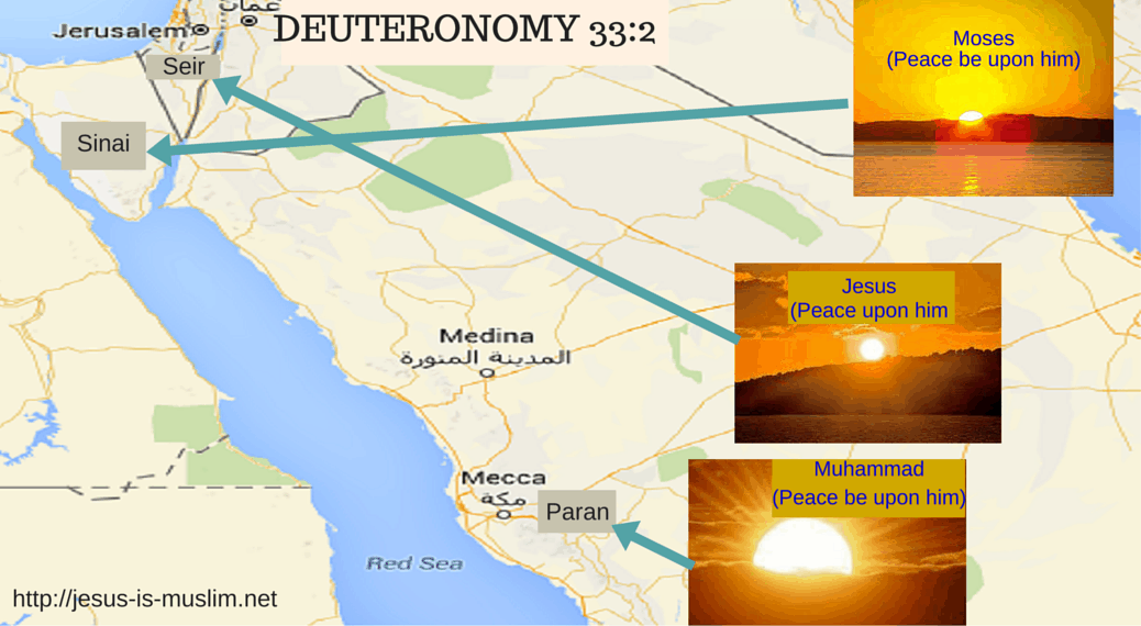 Prophecy of Prophet Muhammad in Deuteronomy 33:2. Paran is Mecca.
