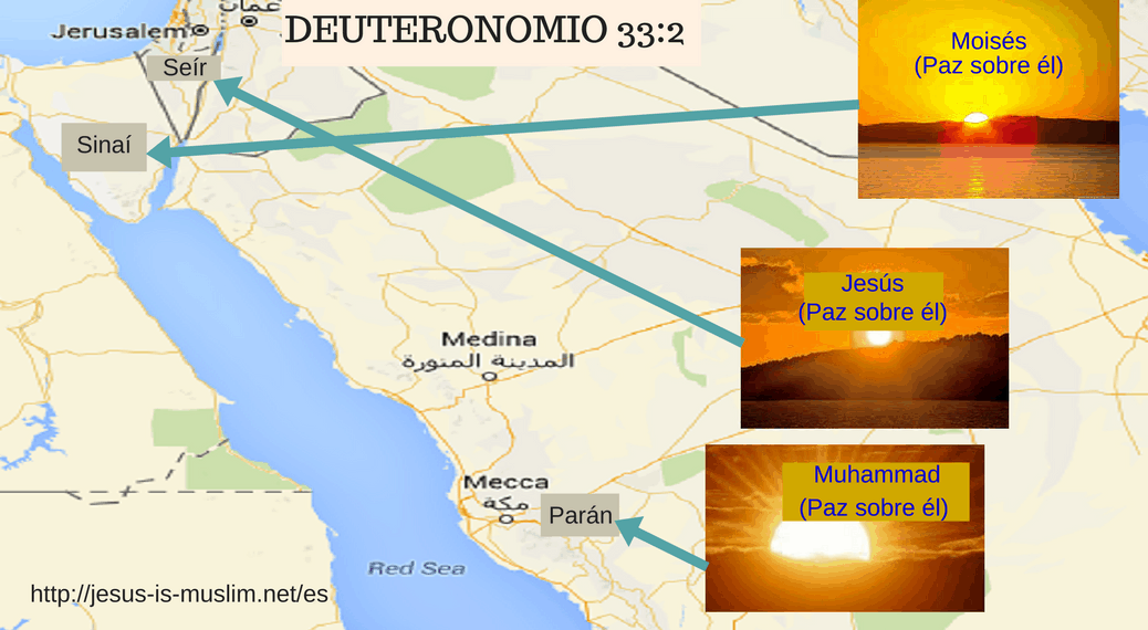 Jehová vino de Sinaí, Y de Seir les esclareció; Resplandeció desde el monte de Parán Parán es la Meca